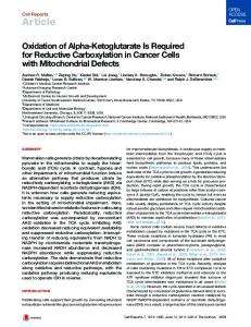 Oxidation of Alpha-Ketoglutarate Is Required for ... - Cell Press