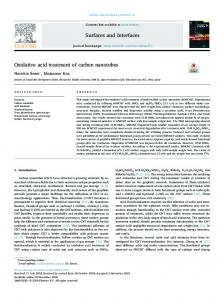 Oxidative acid treatment of carbon nanotubes
