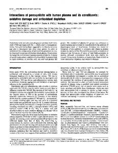 oxidative damage and antioxidant depletion - Europe PMC