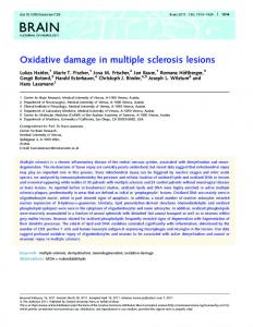Oxidative damage in multiple sclerosis lesions - BioServUK