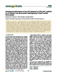 Oxidative Desulfurization of Gas Oil Catalyzed by (TBA) - American