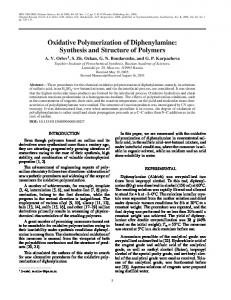 Oxidative polymerization of diphenylamine: Synthesis ... - Springer Link