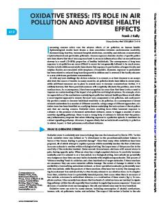 oxidative stress: its role in air pollution and adverse