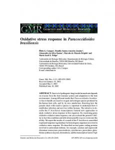 Oxidative stress response in Paracoccidioides brasiliensis - CiteSeerX