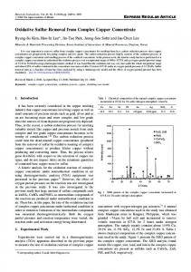 Oxidative Sulfur Removal from Complex Copper Concentrate