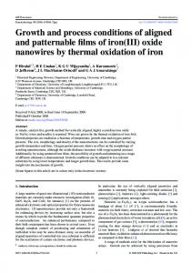 oxide nanowires by thermal oxidation of iron - University of Cambridge