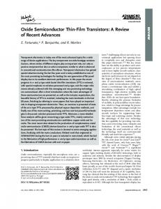 Oxide Semiconductor ThinFilm Transistors: A Review ...