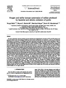 Oxygen and sulfur isotope systematics of sulfate produced by bacterial ...