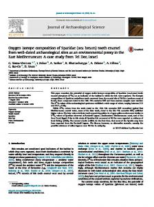 Oxygen isotope composition of Sparidae (sea bream) tooth enamel ...