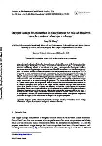 Oxygen isotope fractionation in phosphates: the role ...