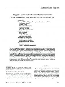 Oxygen Therapy in the Neonatal Care Environment
