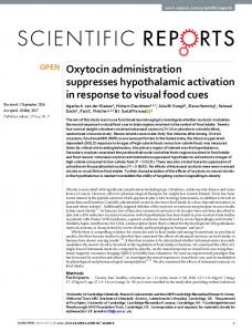 Oxytocin administration suppresses hypothalamic ...