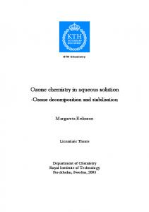 Ozone chemistry in aqueous solution - DiVA Portal