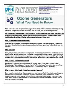 Ozone Generators: What You Need to Know - CT.gov