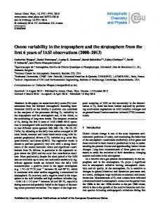 Ozone variability in the troposphere and the ... - Atmos. Chem. Phys