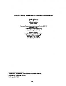p. 1 Script and Language Identification for Handwritten ... - CiteSeerX