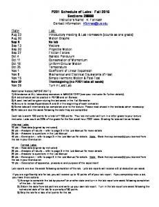 P201 Schedule of Labs: Fall 2013