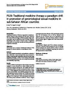 P329: Traditional medicine therapy a paradigm shift in ... - Springer Link