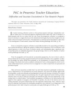 P4C in Preservice Teacher Education - CiteSeerX