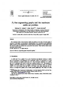 P5-free augmenting graphs and the maximum stable set ... - GERAD