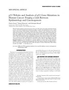 p53 Website and Analysis of p53 Gene Mutations in Human Cancer ...