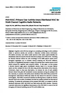 PAD-MAC: Primary User Activity-Aware Distributed MAC for ... - MDPI