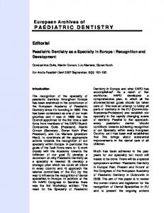 paediatric dentistry - Springer Link