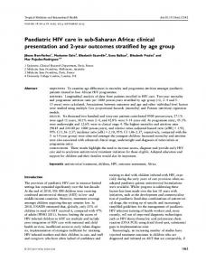 Paediatric HIV care in subSaharan Africa: clinical ... - Semantic Scholar