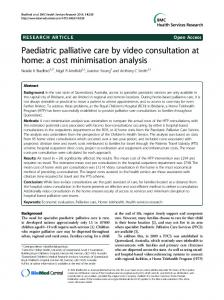 Paediatric palliative care by video consultation at home: a cost ...