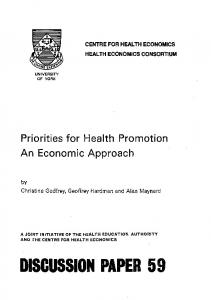 Page 1 CENTRE FOR HEALTH ECONOMICS HEALTH ECONOMICS ...