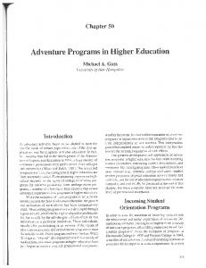 Page 1 Chapter 50 Adventure Programs in Higher Education Michael ...