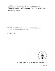 Page 1 DIVISION OF THE HUMANIES AND SOCIAL SCIENCES CAL ...