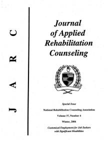 Page 1 Journal of Applied Rehabilitation Counseling w Special Issue ...