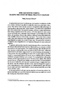 Page 1 JURY REFORMS COMING: MAKING THE MOST OF TRIAL ...