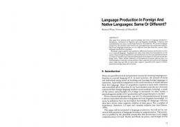 Page 1 Language Production in Foreign And Native Languages ...