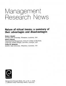 Page 1 Management ReSearch NeWS Nature of virtual teams: a ...