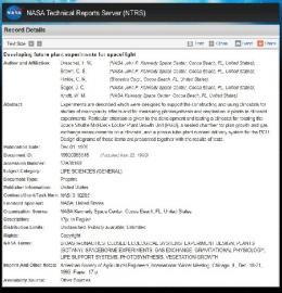 Page 1 NASA NASA Technical Reports Server (NTRS RecordDetails ...
