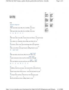 Page 1 of 2 Old Man by Neil Young - guitar chords, guitar ... - Meetup