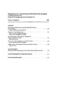 Page 1 PERSONALITY AND SOCIAL PSYCHOLOGY REVIEW An ...