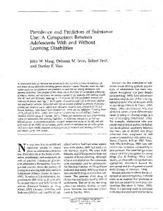 Page 1 Prevalence and Predictors of Substance Use: A Comparison ...
