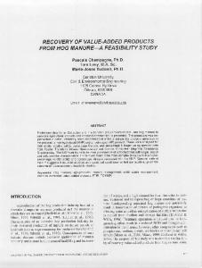 Page 1 RECOVERY OF VALUE ADDED PRODUCTS FROM HOG ...