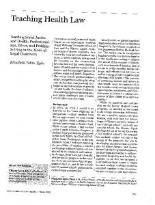 Page 1 Teaching Health Law Teaching Social Justice and Health ...