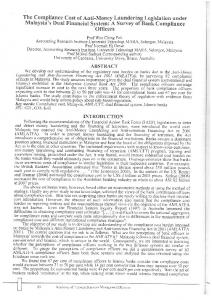 Page 1 The Compliance Cost of Anti-Money Laundering Legislation ...