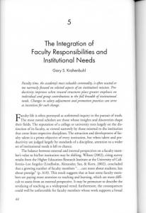 Page 1 The Integration of Faculty Responsibilities and Institutional ...