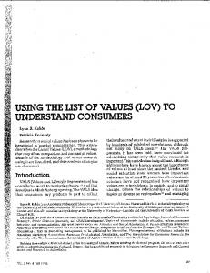 Page 1 USING THE LIST OF VALUES (LOV) TO UNDERSTAND ...