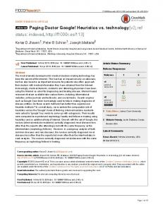 Paging Doctor Google! Heuristics vs. technology
