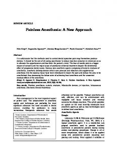 Painless Anesthesia: A New Approach - Journal of Dentofacial Sciences
