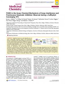 PAINS in the Assay: Chemical Mechanisms of ... - ACS Publications