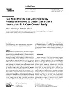 Pair-Wise Multifactor Dimensionality Reduction ... - Karger Publishers