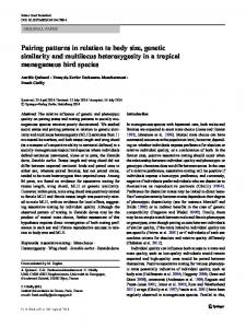 Pairing patterns in relation to body size, genetic ...
